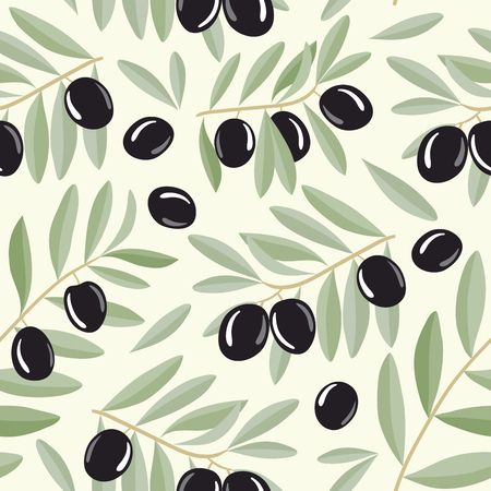 Seamless pattern with black olives on branches with leaves. Vector illustration. For backgrounds,   wallpapers, wrapping paper, textile. Imagens - 46346656
