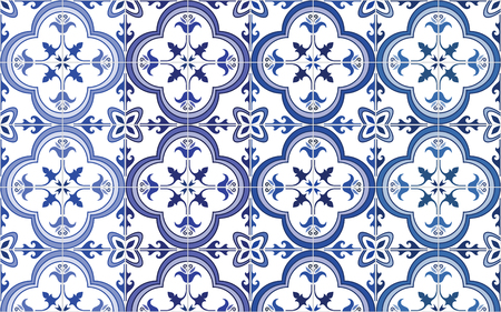 azulejos: Traditional ornate portuguese tiles azulejos, 4 tone variations in blue. Vintage pattern. Abstract background. Vector illustration