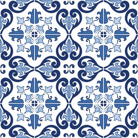 Traditional ornate portuguese tiles azulejos. Vintage seamless pattern. Abstract background. Vector   hand drawn illustration, eps, added to swatch palette. Ilustração