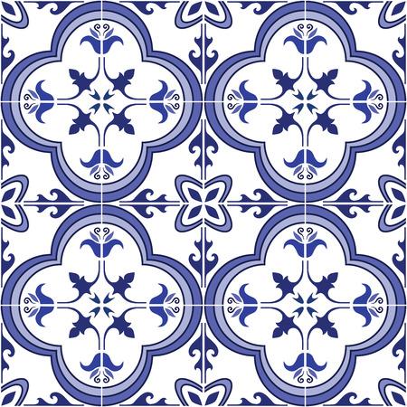원활한 패턴입니다. 전통적인 화려한 포르투갈어 타일 azulejos입니다. 추상적 인 배경입니다. 벡터 일러스트 레이 션, eps, 팔레트 견본을 추가합니다.