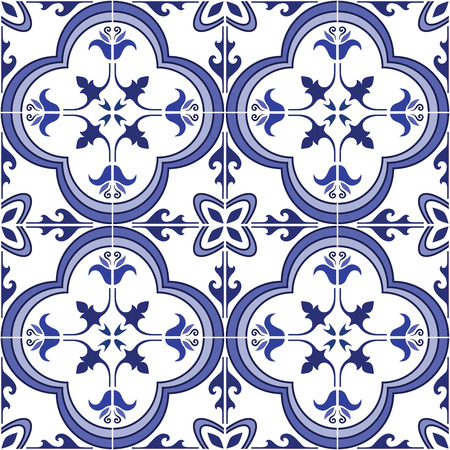 azulejos: Seamless pattern. Traditional ornate portuguese tiles azulejos. Abstract background. Vector illustration, eps, added to swatch palette.