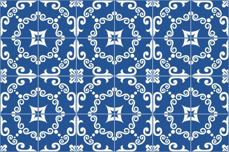 Traditional ornate portuguese and brazilian tiles azulejos. Vintage pattern. Abstract background.   Vector illustration. Ilustração