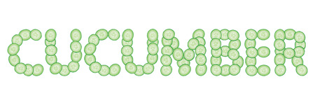 Word cucumber made of fresh slices of cucumbers. Text made of cucumbers. Vector illustration. Isolated over white. Ilustração