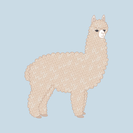 Cute knitted alpaca. Cartoon animal. Knitted texture. Vector illustration, eps10.