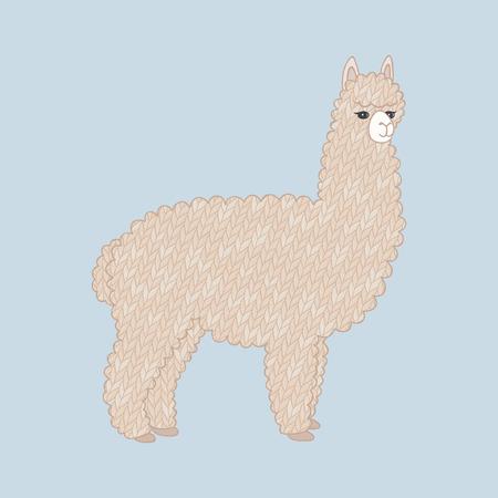 alpaca animal: Cute knitted alpaca. Cartoon animal. Knitted texture. Vector illustration, eps10.