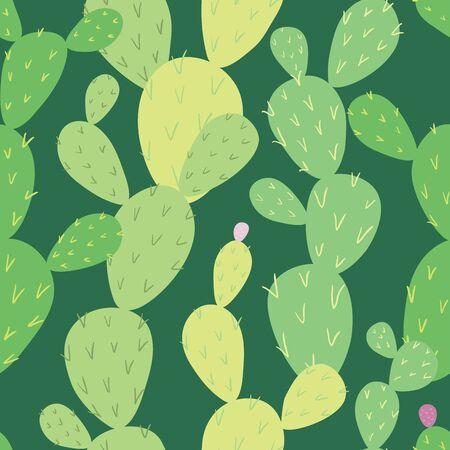 Opuntia cactus. Vector seamless pattern, eps10. Ilustração