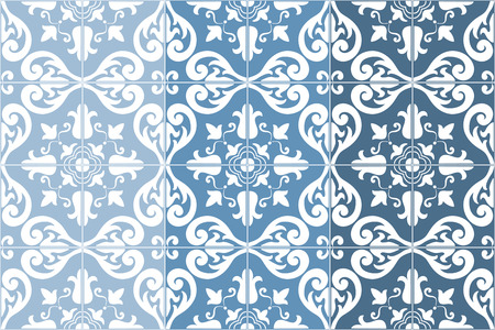 azulejos: Traditional ornate portuguese tiles azulejos, 3 tone variations in blue. Vintage pattern. Abstract   background. Vector illustration, eps.