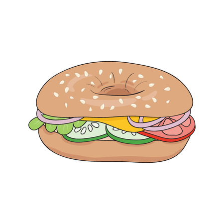 Fresh bagel sandwich with cheese, tomatoes, cucumbers and onions. Delicious breakfast. Vector illustration.