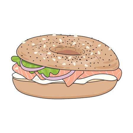 take away: Fresh bagel sandwich with cream cheese, salmon fillet, salad leaf and onions.   Delicious breakfast. Take away fast food. Vector illustration.