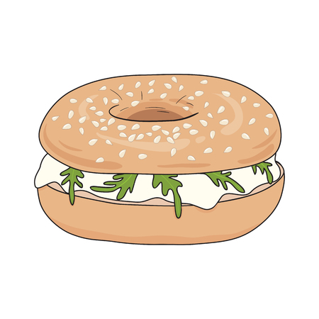 Fresh bagel sandwich with cream cheese and rucola. Delicious breakfast. Take away fast food. Vector illustration.