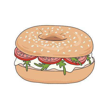 Fresh bagel sandwich with cream cheese, rucola and tomato. Delicious breakfast. Take away fast food. Vector illustration.