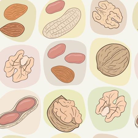 Shelled and whole nuts: walnuts, peanuts, almonds. Vector seamless pattern, eps10. Ilustração