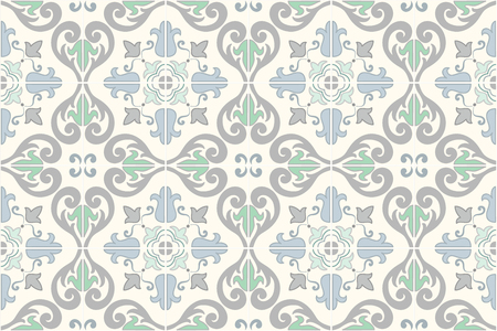 Traditional ornate portuguese and brazilian tiles azulejos. Faded dingy worn colors azulejo tiles. Worn look. Vintage pattern. Abstract background. Vector illustration, eps10. Imagens - 87432034
