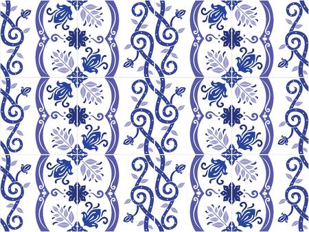 Traditional ornate portuguese and brazilian tiles azulejos. Vintage pattern. Abstract background. Vector illustration, eps10. Ilustração
