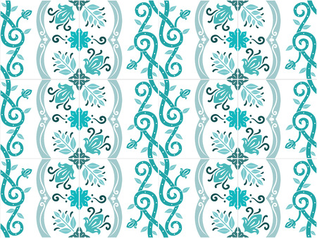 Traditional ornate portuguese and brazilian tiles azulejos in turquoise colors. Vintage pattern. Abstract background. Vector illustration, eps10. Ilustração