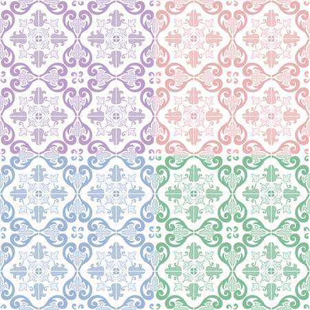 Traditional ornate portuguese and brazilian tiles azulejos, 4 color variations. Vintage pattern. Abstract background. Vector illustration, eps10. Ilustração