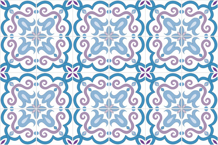 Traditional ornate portuguese and brazilian tiles azulejos in blue and violet colors. Vintage pattern. Abstract background. Vector illustration, eps10. Imagens - 87432040