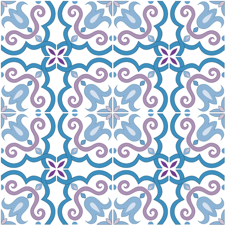Seamless pattern. Traditional ornate portuguese tiles azulejos in blue and violet colors. Abstract background. Seamless texture. Vector illustration, eps, added to swatch palette.