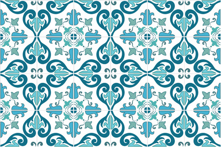 Traditional ornate portuguese and brazilian tiles azulejos in turquoise color. Vintage pattern. Abstract background. Vector illustration, eps10.