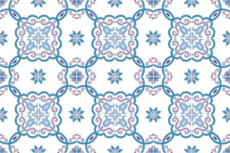 Traditional ornate portuguese and brazilian tiles azulejos in blue and violet gentle colors. Spanish talavera tiles. Vintage pattern. Abstract background. Vector illustration, eps10. Imagens - 87432043