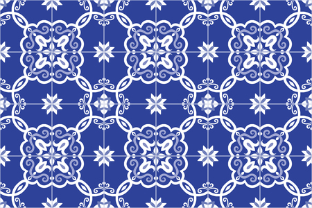 Traditional ornate portuguese and brazilian tiles azulejos in blue. Spanish talavera tiles. Vintage pattern. Abstract background. Vector illustration, eps10. Imagens - 87432044