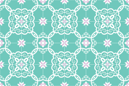 Traditional ornate portuguese and brazilian tiles azulejos in turquoise and pink. Spanish talavera tiles. Vintage pattern. Abstract background. Vector illustration, eps10. Imagens - 87432045