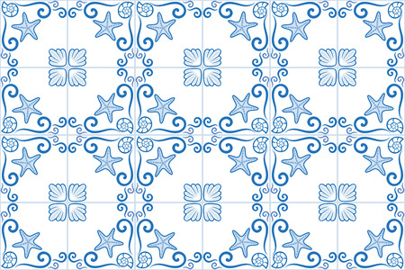 Ornate sea themed portuguese and brazilian tiles azulejos with starfish and shells. Spanish talavera tiles. Vintage pattern. Abstract background. Vector illustration, eps10. Imagens - 87432047