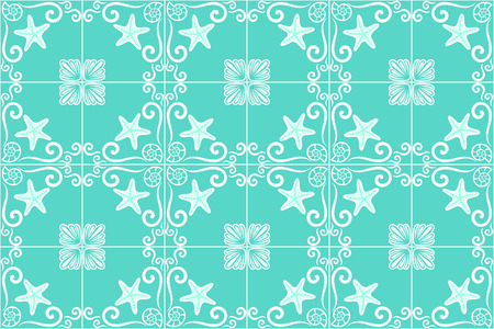 Ornate sea themed portuguese and brazilian tiles azulejos with starfish and shells in turquoise color. Spanish talavera tiles. Vintage pattern. Abstract background. Vector illustration, eps10. Ilustração