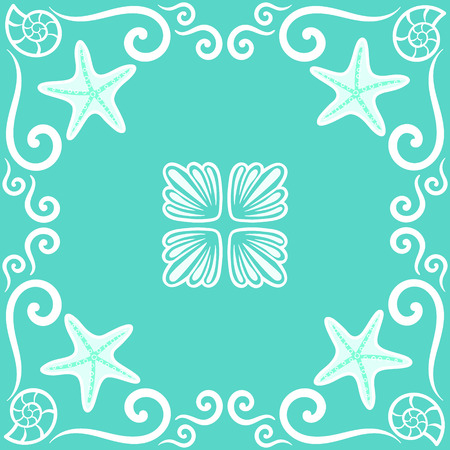 Seamless pattern. Ornate sea themed portuguese and brazilian tiles azulejos with starfish and shells in turquoise color. Spanish talavera tiles. Vintage pattern. Abstract background. Vector illustration, eps10.