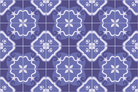 Traditional decorative ornate portuguese and brazilian tiles azulejos in blue. Spanish talavera tiles. Vintage pattern. Abstract background. Vector illustration, eps10.
