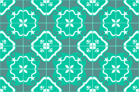Traditional decorative ornate portuguese and brazilian tiles azulejos in aquamarine. Spanish talavera tiles. Vintage pattern. Abstract background. Vector illustration, eps10. Imagens - 87432052