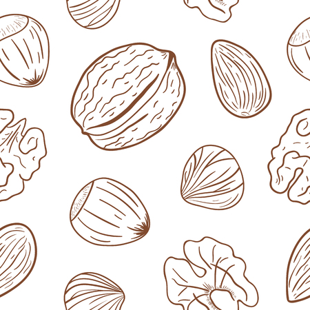 Seamless pattern with assorted nuts: walnuts, almonds, hazelnuts. Whole and shelled nuts mix. Vector hand drawn seamless pattern for packaging, textile, interior, background and other designs.