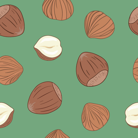 Seamless pattern with shelled and whole hazelnuts on green background. Hand drawn vector seamless pattern, eps10. For backgrounds, packaging, ads, interiors, labels and other designs.