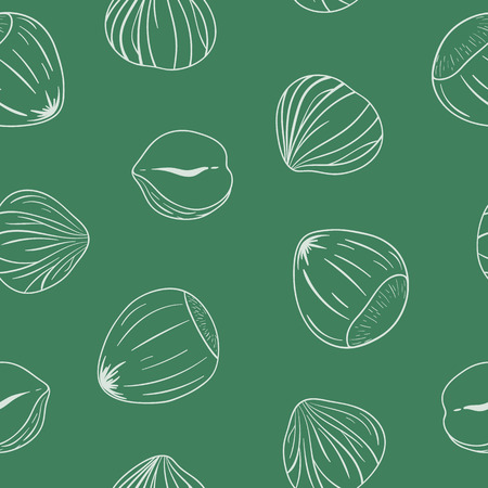 Seamless pattern with shelled and whole hazelnuts. Outlines on green background. Hand drawn vector seamless pattern, eps10. For backgrounds, packaging, ads, interiors, labels and other designs. Imagens - 87576107