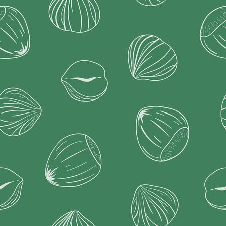 Teste padrão sem emenda com as avelã descascadas e inteiras. Contornos sobre fundo verde. Teste padrão sem emenda tirado mão do vetor, eps10. Para fundos, embalagens, anúncios, interiores, rótulos e outros designs.