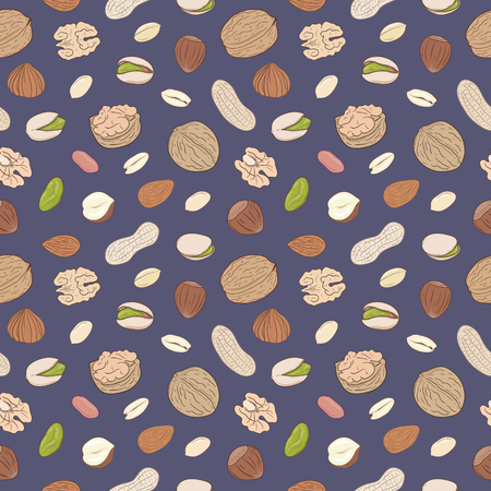 Seamless pattern with shelled and whole walnuts, peanuts, almonds, pistachios, hazelnuts. Hand drawn nuts vector seamless pattern, eps10. For backgrounds, packaging, ads, labels and other designs. Ilustração