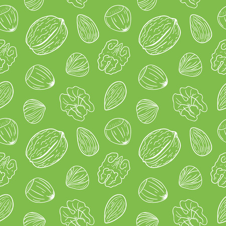 Seamless pattern with assorted nuts: walnuts, almonds, hazelnuts on green background. Whole and shelled nuts mix. Vector hand drawn seamless pattern for packaging, textile, interior, background and other designs. Illustration