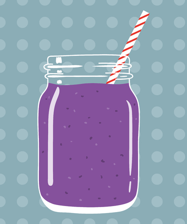 Blueberry smoothie in mason jar with striped straw on dotted background. Fresh natural berry drink, isolated. Vector hand drawn illustration eps10.