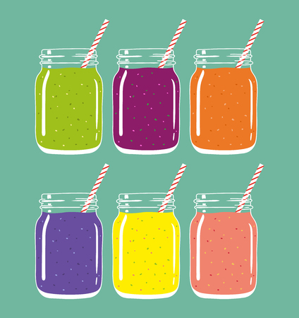 Set of 6 different colorful smoothies in mason jars with striped straws. Fresh natural healthy fruit and berry drinks, isolated. Vector hand drawn illustration eps10.