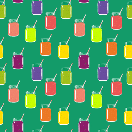 Seamless pattern with colorful smoothies in mason jars with striped straws. Fresh natural healthy fruit and berry drinks. Vector pattern for backgrounds, packaging, textile and other designs.