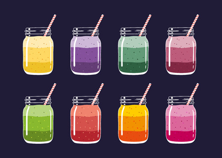 Set of 8 different colorful layered smoothies in mason jars with striped straws. Fresh natural healthy fruit and berry drinks, isolated. Vector hand drawn illustration eps10.