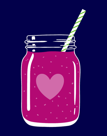 Fruit and berry smoothie in mason jar with striped straw and a heart. Romantic smoothie. Valentines day drink. Fresh natural beverage, isolated. Vector hand drawn illustration eps10.