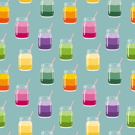 Seamless pattern with colorful layered smoothies in mason jars with striped straws. Fresh healthy fruit and berry drinks. Vector pattern for backgrounds, packaging, textile and other designs. Ilustração