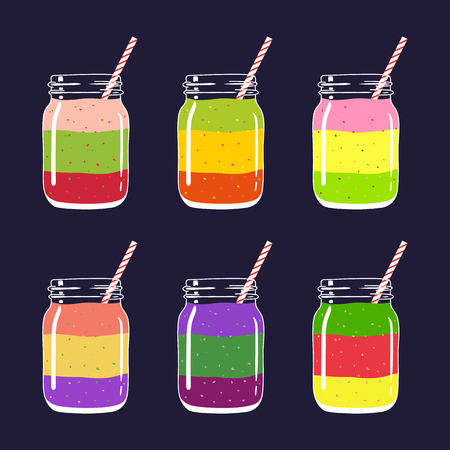 Set of 8 different colorful layered smoothies in mason jars with striped straws. Fresh natural healthy fruit and berry drinks, isolated. Vector hand drawn illustration eps10. Imagens - 87975114