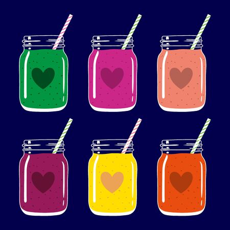 Set of 6 fruit and berry smoothies in mason jars with striped straws and heart shapes. Romantic smoothie collection. Valentines day fresh natural drink, isolated.Vector hand drawn illustration eps10. Ilustração