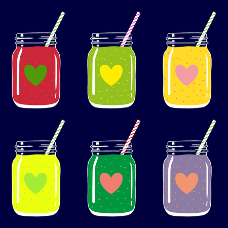 Set of 6 fruit and berry smoothies in mason jars with striped straws and heart shapes. Romantic smoothie collection. Valentine's day fresh natural drink, isolated.Vector hand drawn illustration eps10. Imagens - 87975117