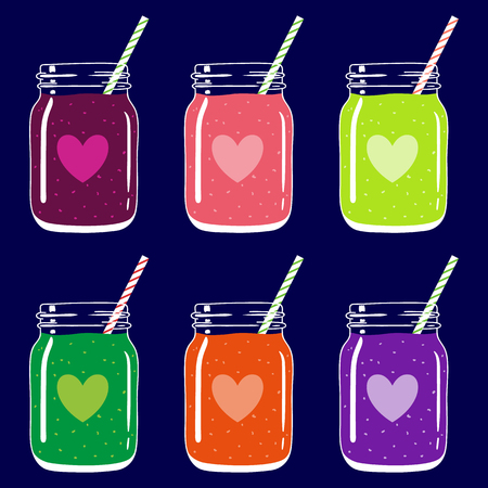 Set of 6 fruit and berry smoothies in mason jars with striped straws and heart shapes. Romantic smoothie collection. Valentine's day fresh natural drink, isolated.Vector hand drawn illustration eps10. Imagens - 87975116