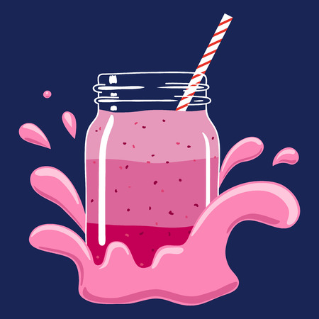 Fruit and berry layered smoothie in mason jar with striped straw in a splash of yoghurt. Fresh natural berry drink, isolated. Vector hand drawn illustration eps10.