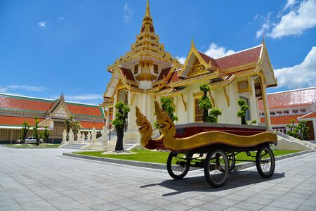 serpents: Bangkok, Thailand - July 8,2016: Thai cart with serpents for carry casket to crematory in Debsirin temple