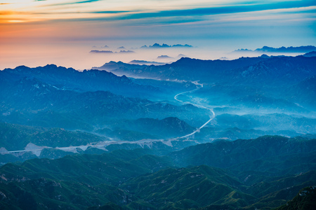 The early morning of Baishishan in Hebei, Laiyuan Stock Photo